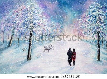 Original oil painting showing couple in love walking in park on canvas.Night winter scene. Modern Impressionism, modernism,marinism