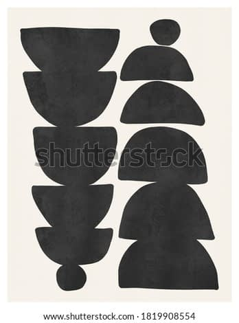 Modern shapes abstract art hand-painted art illustration matisse inspired