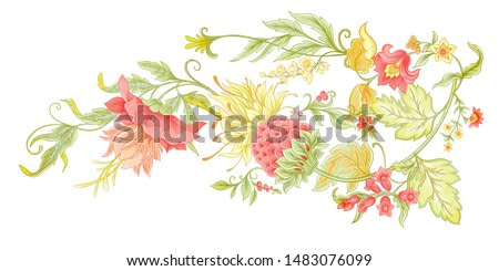 Fantasy flowers in retro, vintage, jacobean embroidery style. Element for design. Colored vector illustration. Isolated on white background.