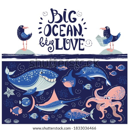 Vector illustration of ocean animals and fish with lettering. Marin picture.