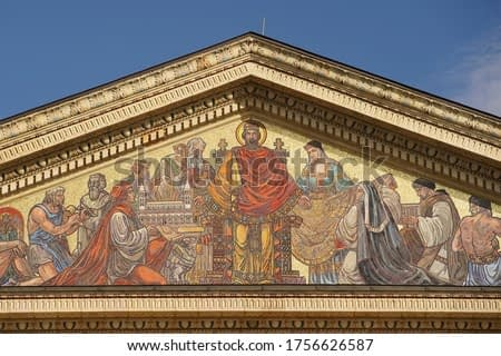 The facade of the art gallery on Heroes' Square. Tourist attraction.