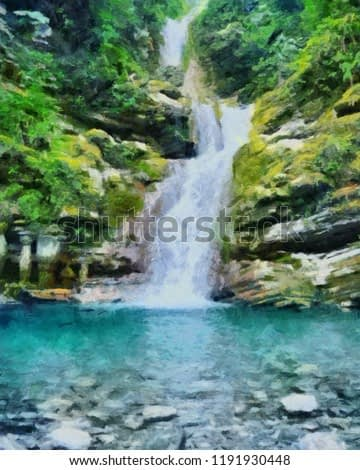 Oil painting. Art print for wall decor. Acrylic artwork. Big size poster. Watercolor drawing. Modern style fine art. Beautiful tropical exotic landscape. Wild waterfall.