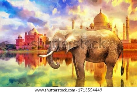 modern oil painting of elephant with  Taj Mahal sunset colorful background, artist collection of animal painting for decoration and interior, canvas art, abstract. India