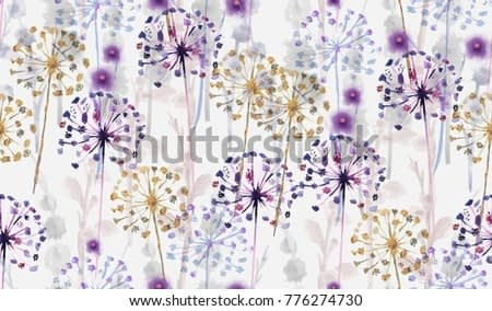 Seamless Watercolor wild floral pattern in hand painting style , delicate flower wallpaper,pink,tansy, pansies.Wallpaper on white background