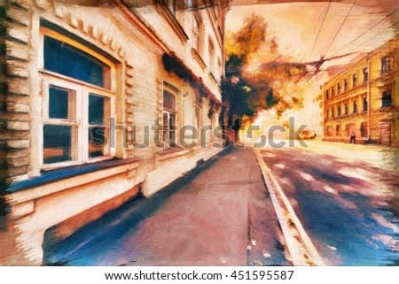 Kitsch: lyrical abstraction of street urban digital watercolor drawing stylization- painting art