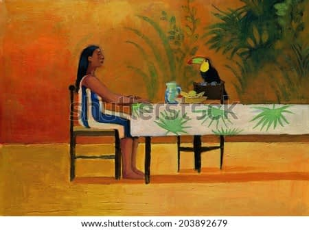 woman sitting at the table with a toucan