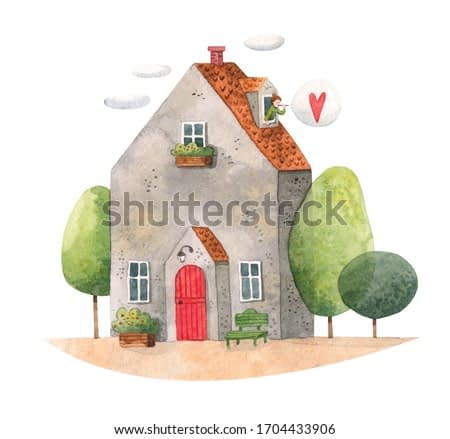 Watercolor illustration of a cute house and a girl sending bubble with a heart out of the window. Stay home and be safe. Send positive vibes. Home sweet home. Old house with trees beside.