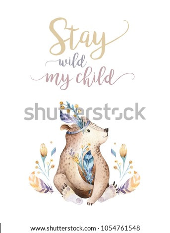 Cute bohemian baby bear animals for kindergarten, woodland nursery isolated decoration forest illustration for children forest animal pattern. Watercolor hand drawn boho set