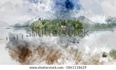 Digital watercolor painting of Beautiful landscape image of Derwentwater in English Lake District during late Summer morning with still water and misty mountains