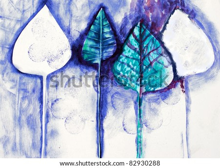 The hand painted painting of stylized trees, similar to leaves