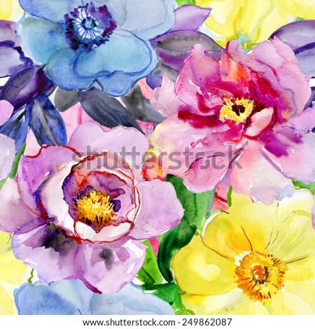 Abstract watercolor hand painted backgrounds with magnolia, lily , orchid flowers and tropical leaves. vector,