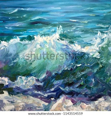 Drawing of sea waves, white foam, windy storm. Picture contains interesting idea, evokes emotions, aesthetic pleasure. Canvas stretched on a stretcher, oil natural paints. Concept art painting texture