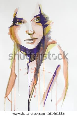 watercolor portrait of beautiful girl | handmade | self made | painting