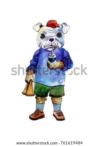 cute dog with food in hands on a white background. watercolor illustration of animals.