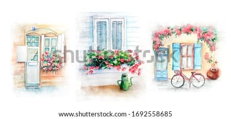 Watercolor painting of Vintage old house sketch art illustration