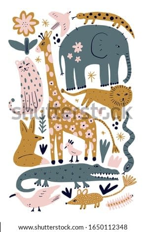 Vector illustration of cute wild safari African animals. Including leopard, lion, giraffe, fox, birds, snake, salamander lizard and more. Funny cartoon doodle characters in scandinavian style. Kids