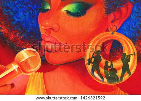 Jazz song music. oil painting. contemporary art