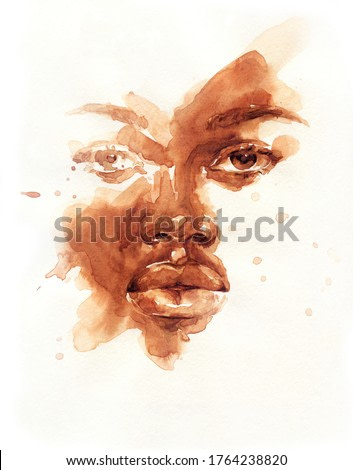 african american human. illustration. watercolor painting
