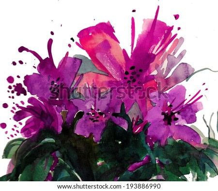 Beautiful summer flowers bouquet with red and violet bloom watercolor painting postcard poster textile background wallpaper