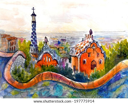 Barcelona Antonio  park picturesque watercolor illustration poster print colored painting
