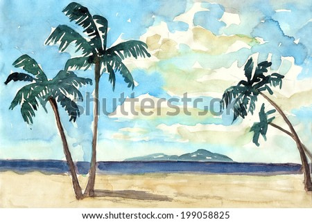 Summer watercolor with palms, se and sky painting illustration hand drawn artwork background textile pattern