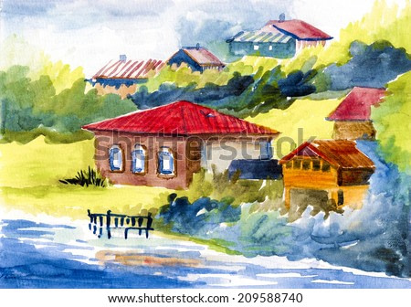 Vintage village house near the water watercolor on paper illustration painting hand drawn artwork