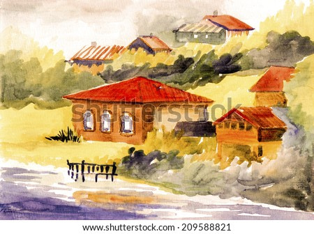 Vintage house near the water watercolor on paper illustration painting hand drawn artwork