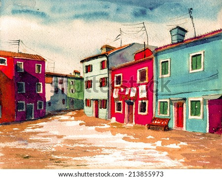 Famous Venice Italian island bright colored houses watercolor painting illustration poster hand drawn artwork textile pattern canvas background