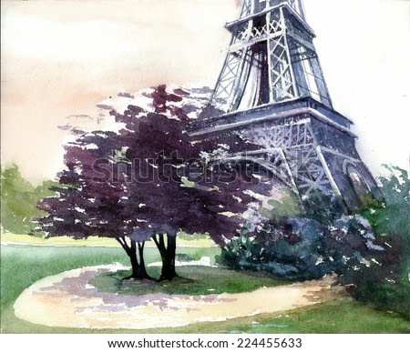 Beautiful Paris view with Eiffel tower french landscape watercolor painting poster hand drawn artwork background colored oil acrylic art canvas illustration