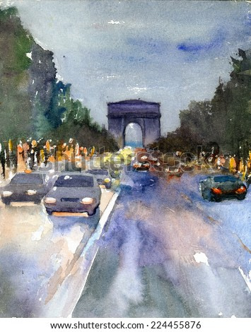 Paris night landscape watercolor painting poster hand drawn artwork background colored oil acrylic art canvas illustration