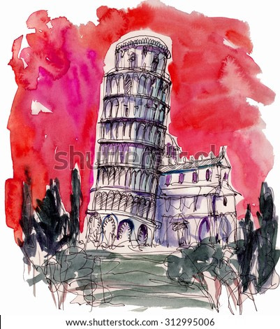 Beautiful italian tower watercolor paper illustration painting print background