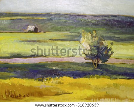 Watercolor landscape with tree ans small house painting oil illustration poster print post card canvas wallpaper pattern
