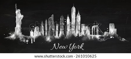 Silhouette New york city with splashes drops and streaks landmarks drawing with chalk on blackboard