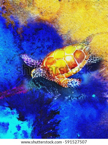 original art, watercolor painting on canvass, sea turtle