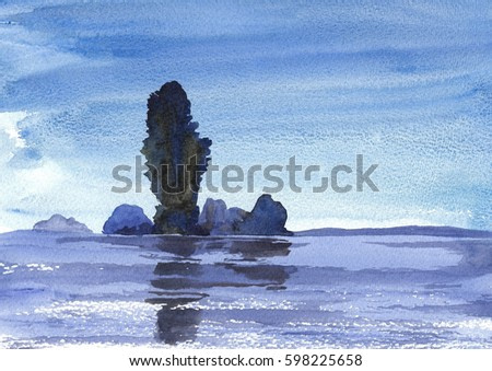 blue halftone landscape of a small island reflected in the water abstract watercolor painting background