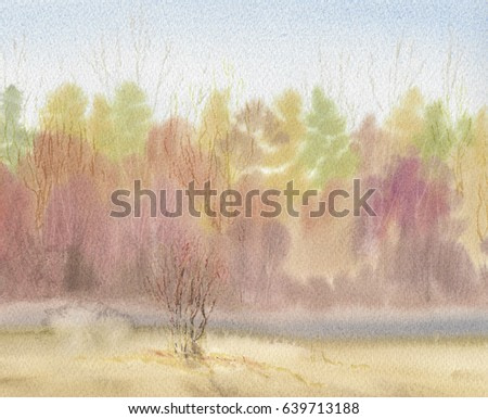 Abstract warm landscape in natural colors background watercolor painting