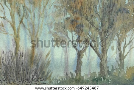 Light blue fog in the forest watercolor painting background