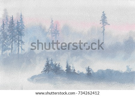 Abstract foggy blue-gray landscape. Twilight forest with tall lone trees painted watercolor