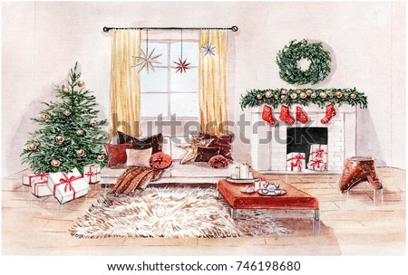 Watercolor illustration of Christmas interior of living room with fireplace, sofa, pillows, christmas tree and decor.