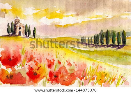 Landscape with cypress trees ,poppies and small church watercolor painted.