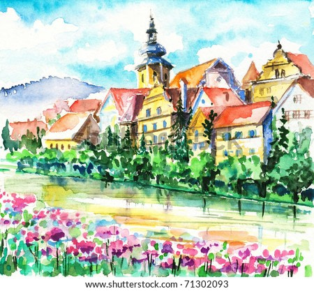 Spring in small city on the river.Picture I have created with watercolors.