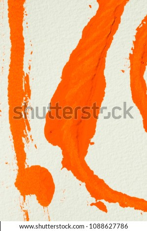 orange stencil printing, abstract painting, detail