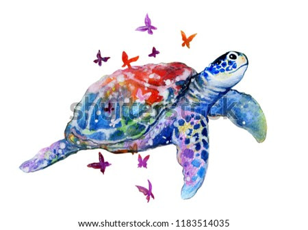 Sea turtle abstract style watercolor illustration isolated on white.