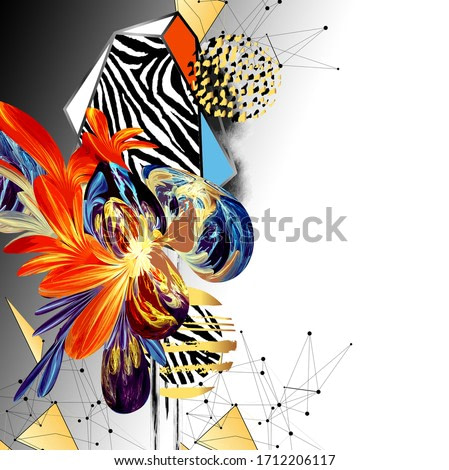 Colorful abstract with zebra texture and waterolor geometric pattern