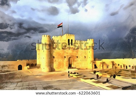 Colorful painting of Citadel of Qaitbay