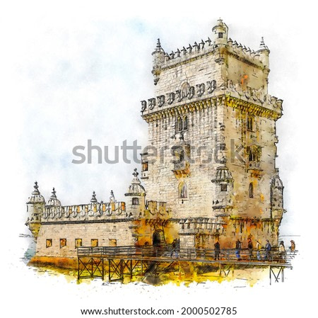 Belem Tower, officially the Tower of Saint Vincent, a 16th-century fortification located in Lisbon that served as a point of embarkation and disembarkation for Portuguese explorers, color illustration