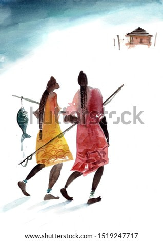 Two people at Zanzibar beach come back home from fishing