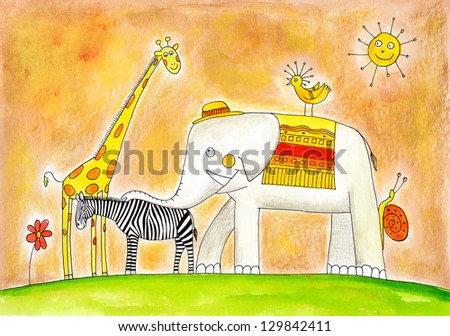 Group of animals, child's drawing, watercolor painting on paper