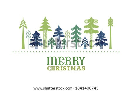 Merry Christmas greeting card illustration of traditional green folk art pine trees in watercolor texture. Geometric vintage nordic design for holiday celebration.