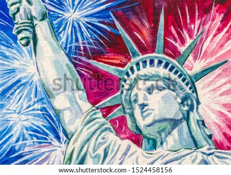 Statue of Liberty and Fireworks. 4th of July in New York city.